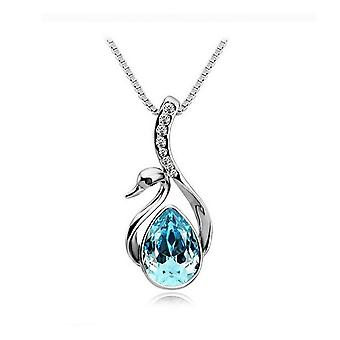 Womens Crystal Elements Sky Blue Swan Pendant Necklace Silver Plated