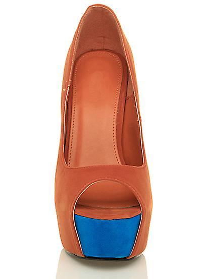 Ajvani womens high heel classic court party evening peep toe court classic shoes sandals cc77a3