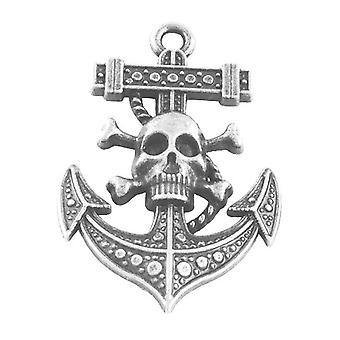 Packet 3 x Antique Silver Tibetan 54mm Anchor & Skull Charm/Pendant HA09015