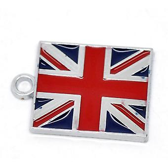 Packet 2 x Red/Blue Enamel & Alloy 22mm Flag Of Uk Charm/Pendant ZX07190