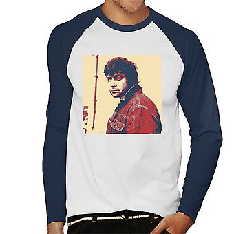 Oliver Reed English Actor Poster Style Print Men's Baseball Long Sleeved T-Shirt