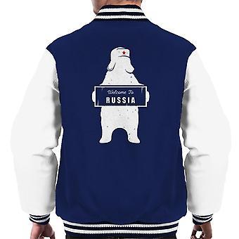 Willkommen in Russland Bär Revolution Sterne Männer der Varsity Jacket
