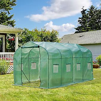 Outsunny Walk in Polytunnel Greenhouse with Windows and Door for Garden, Backyard (4 x 2M)
