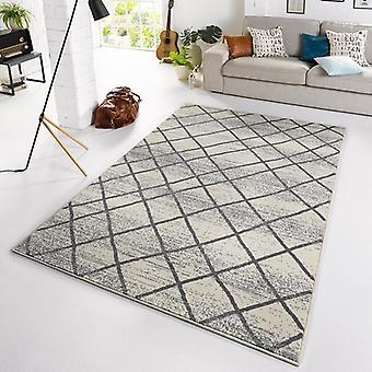 Designer velour carpet diamond cream grey
