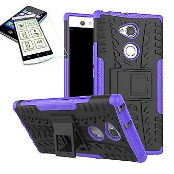 Hybrid 2 piece purple for Sony Xperia XA2 case pouch cover + tempered glass
