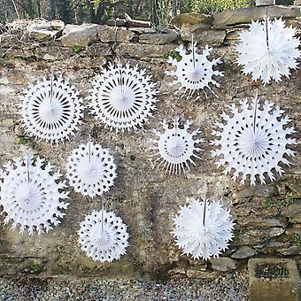 Stunning White Paper Snowflakes x 10 Christmas / Wedding / Party Decoration