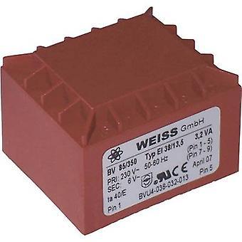 PCB mount transformer 1 x 230 V 1 x 24 V AC 3.20 VA 133 mA 85/355 Weiss Elektrotechnik