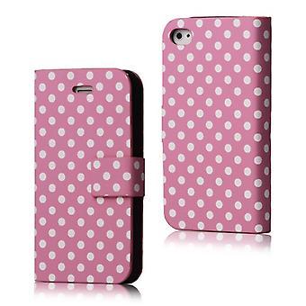 Schutzhülle Tasche (Flip Quer) für Handy Apple iPhone 4 & 4s Rosa / Weiß