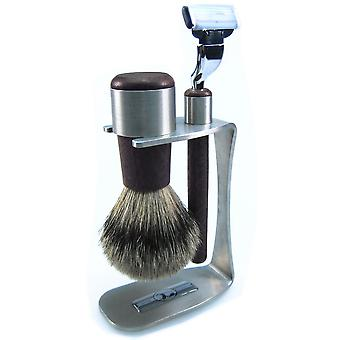 modern three piece shave set in stainless steel and wood combined with a Badger-plucking hair brush