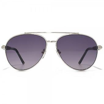 Montblanc Wooden Temple Pilot Sunglasses In Silver
