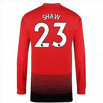 2018-2019 Man Utd Adidas Home Long Sleeve Shirt (Shaw 23) - Kids