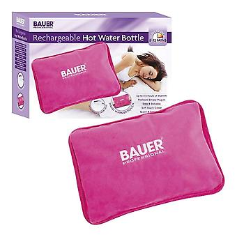 Bauer Rechargeable Electric Hot Water Bottle With Soft Touch Cover Pink