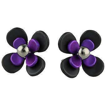 Ti2 Titanium sort tilbage fire Petal blomst Stud Øreringe - kejserlig lilla