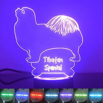 Tibetan Spaniel Dog Colour Changing LED Acrylic Light