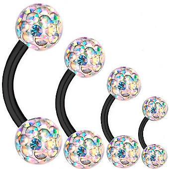 Barbell curvado negro titanio 1, 6mm, múltiples bolas de cristal Aurora Boreal | 6-16mm