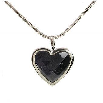 Cavendish francés plata Surround arenisca azul corazón colgante con cadena de plata de 18-20