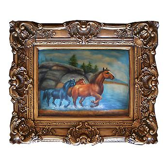 Horses, oil painting with frame, inside dimensions 30 x 40 cm