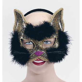 Glitter Cat Mask Black On H'Band.
