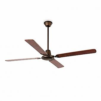 Large Ceiling Fan Without Light Wood, Dark Brown