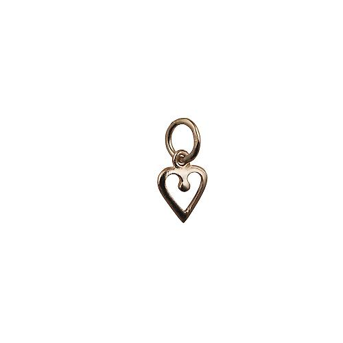 9ct Gold 8mm heart symbol of charity Pendant or Charm