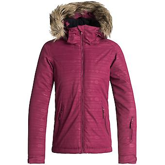 Roxy Beet Red-Indie Stripes Jet Embossed Girls Ski Jacket