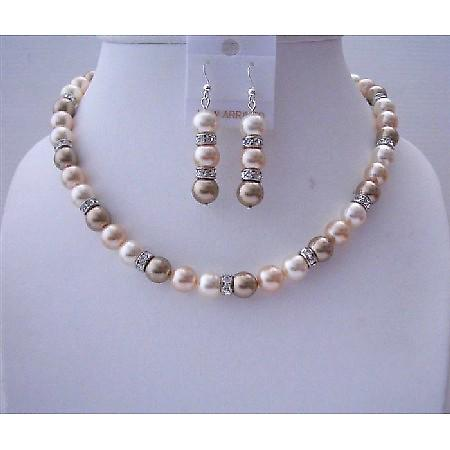 Tri Pearls Mother Pearl Peach Cream & Champagne Diamond Spacer Jewelry