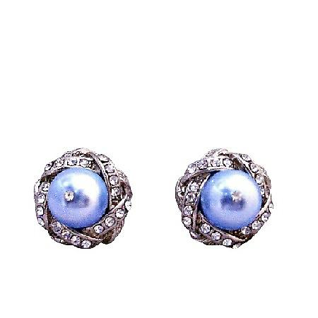 Stud Post Earrings Lite Blue Pearl Swarovski Pearl w/ Cubic Zircon