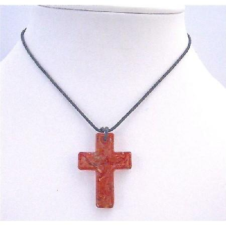 Red Cross Pendnat Murano Glass Cross Pendant Black Chord Necklace Gift