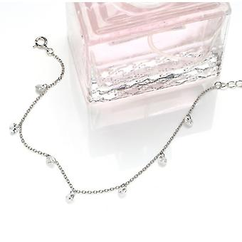925 Sterling Silver Chain Round Drop Charm Bracelet