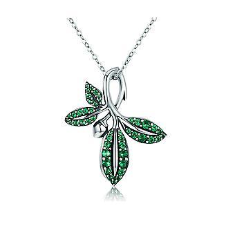 Naszyjnik wisiorek Niewiasta obleczona liści zielony kryształ Swarovski i srebro 925