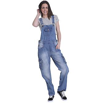 USKEES Womens Denim Dungarees - Faded Blue Relaxed fit Roll-up leg Bib-overalls