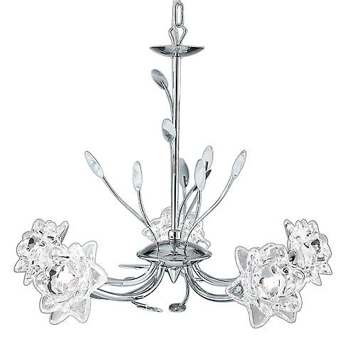 Searchlight 8285-5CC Bellis 5 Arm Chrome Pendant With Clear Flower Glass