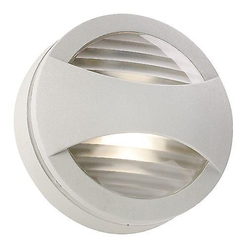 Endon EL-40031-SIL Modern Round Silver Aluminium Outdoor Wall Light Bulkhead