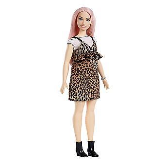 Barbie FXL49 fashionistas leopardo vestito curvy, capelli rosa
