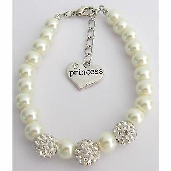 Rhinestones Pavel Ball Bracelet Flower Girl Ivory Bracelet