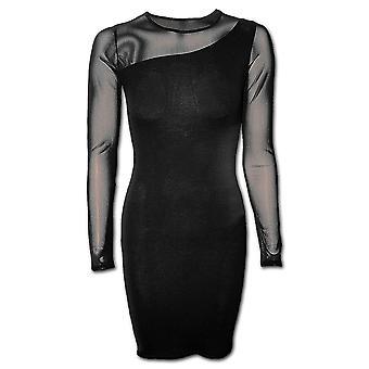 Spiraal directe gotische gotische elegantie - een schouder fijne Mesh jurk Black| Gothic