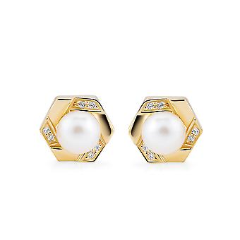Orphelia 925 Silver Stud Earring Yellow with Freshwater Pearl and Zirconium