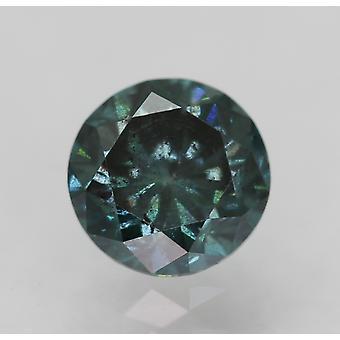 CERT 0,52 CT fancy Vivid Blue SI1 rund briljant förstärkt Natural Diamond 4.94 m