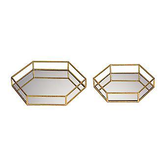 Mirrored hexagonal trays.