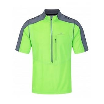 Trail Short Sleeve Zip Tee Fluo Green/Granite Mens Size Small