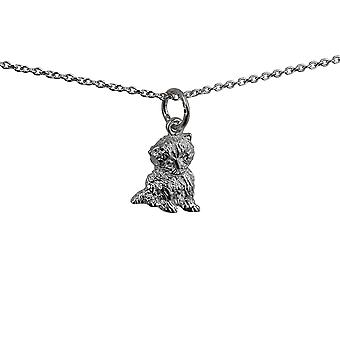 Silver 12x11mm Kitten Pendant with a rolo Chain 14 inches Only Suitable for Children