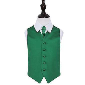 Boy's Emerald Green Plain Satin Wedding Waistcoat & Cravat Set