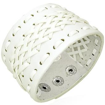 Urban Male White Real Leather Cuff Bracelet 40mm