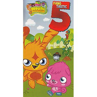 Moshi Monsters 5th Birthday Card with Badge