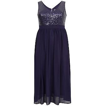 PRASLIN Marine Chiffon ärmellose Maxi-Kleid mit Pailletten-Mieder