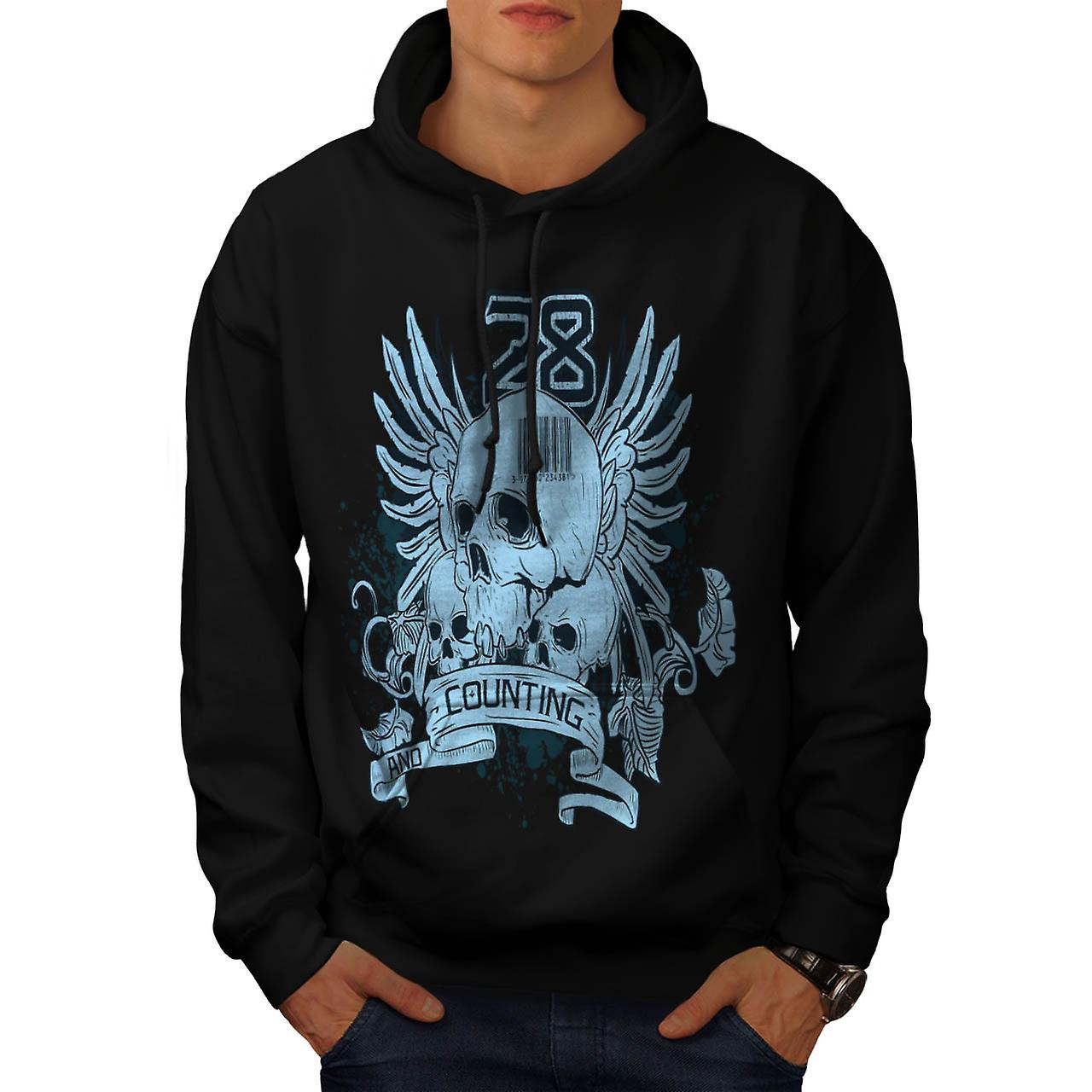Ghost Skull Die Count Death Toll Men Black Hoodie | Wellcoda
