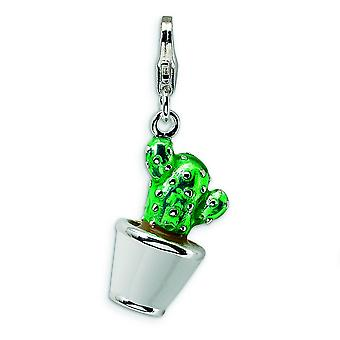 Sterling Silver Rhodium-plated Fancy Lobster Closure 3-D Enameled Potted Green Cactus With Lobster Clasp Charm - Measure