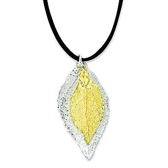 Sterling Silver/24k Gold Dipped Double Evergreen Leaf Necklace - 20 Inch
