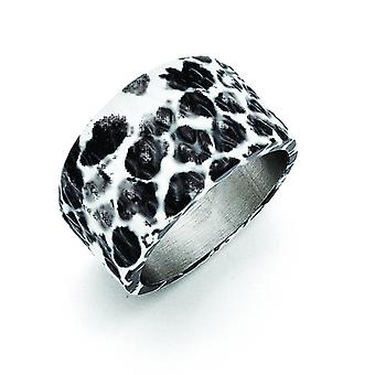 Stainless Steel Polished Black and White Textured Ring - Ring Size: 6 to 9