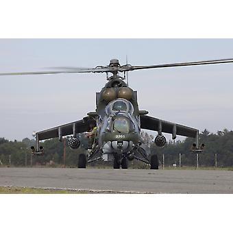 A Czech Air Force Mi-24 Hind gunship Hradec Kralove Czech Republic Poster Print